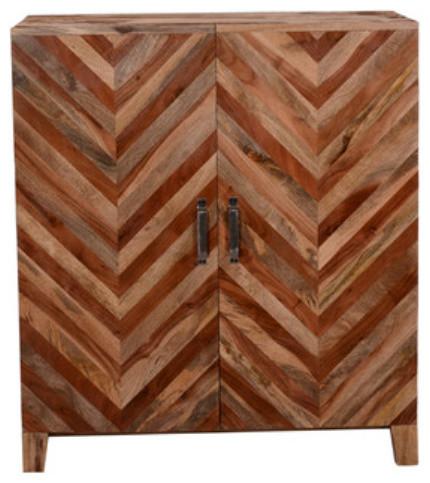 Illusion Wood Bar Cabinet In Distressed Finish, Matte Walnut