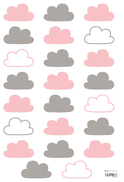 lilipinso a3 wall stickers clouds cm contemporary children 39 s wall art by lilipinso. Black Bedroom Furniture Sets. Home Design Ideas