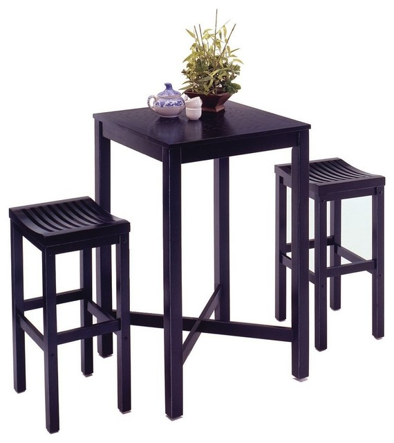 Oasis 3 Piece Pub Set Black Transitional Indoor