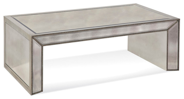 bassett mirror murano mirrored rectangle cocktail - contemporary