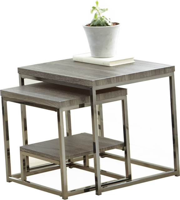 Lucia 2-Piece Nesting Table, Gray/Brown