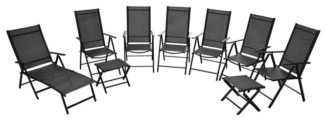 vidaXL 9-Piece Folding Garden Furniture Set, Aluminium, Black