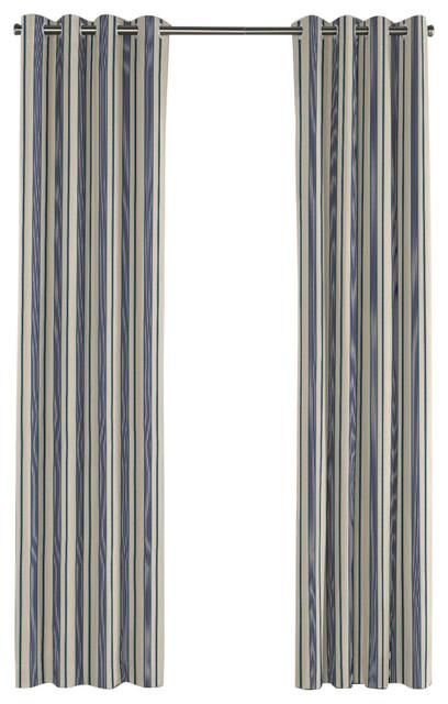 Loom Decor Gray Teal And Blue Stripe Grommet Curtain