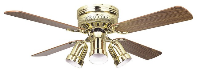 42 Hugger Ceiling Fan W/4 Bullet Cb - Polished Brass, Brass.