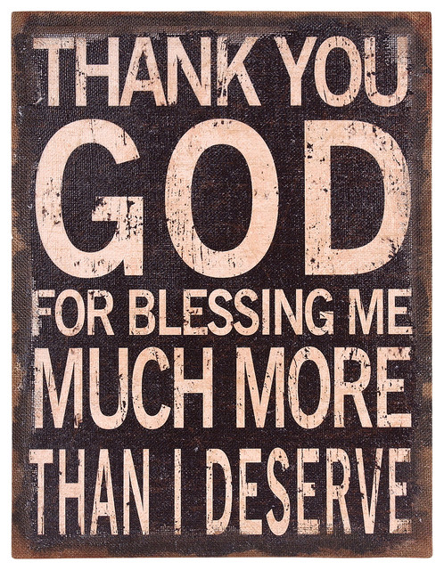 """""""thank You God"""" Stretched Burlap Wall Art."""