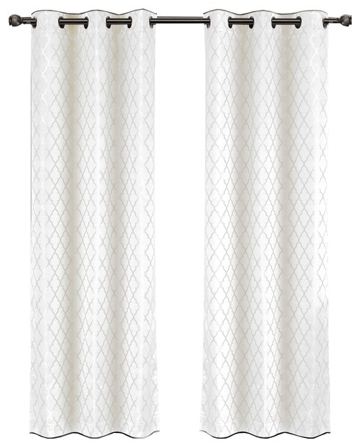 """Willow Thermal Blackout Curtains With Grommets, Set of 2, White, 84""""x96"""""""