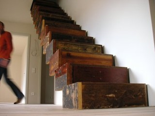 Creative Reuse: Reclaimed Wood Box Stairs | Apartment Therapy Chicago eclectic staircase