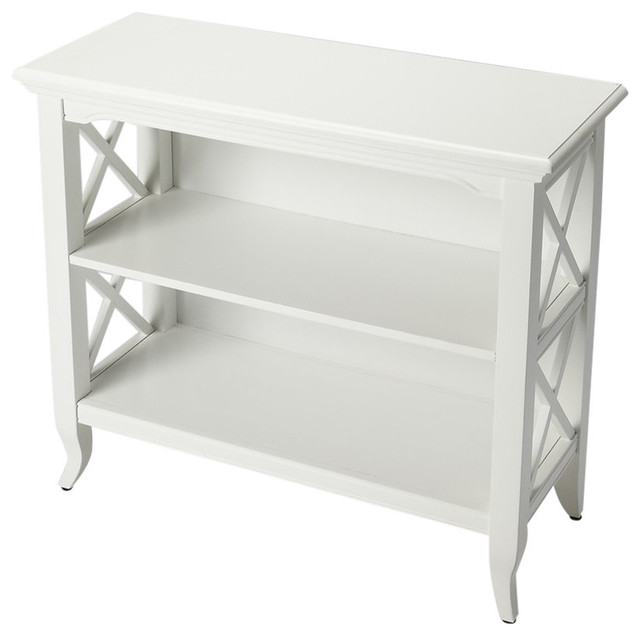 Butler Newport Glossy White Low Bookcase.