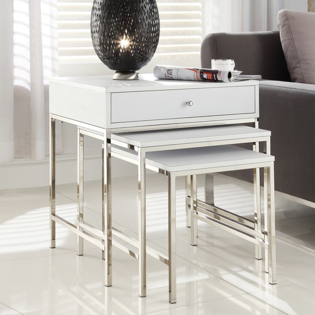 Inspire q gratten white nesting table metal accent table for White nesting coffee table