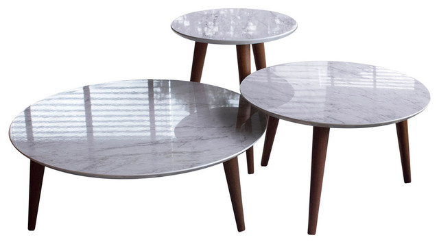 71539298dc678 Mid Century Modern Round Wooden Accent End Tables