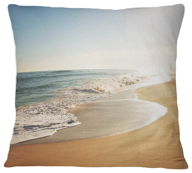 """Wide Seashore with Crystal Waters Modern Beach Throw Pillow, 26""""x26"""""""