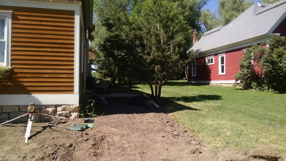 Major redo of a landscape for a quaint home in SteamboatThe privacy patio coming