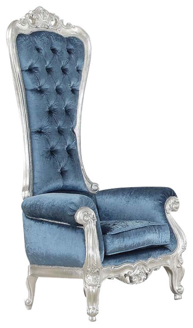 Astonishing Royal And Style Raven Silver Blue Accent Chair High Back 65 Pabps2019 Chair Design Images Pabps2019Com