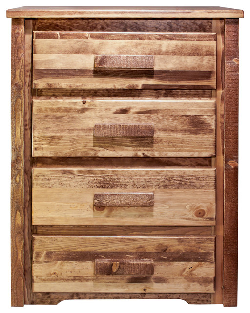 Homestead Collection 4-Drawer Chest, Stain And Clear Lacquer Finish.