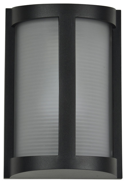 Pier Marine Grade Outdoor Bulkhead, Black With Ribbed Frosted Glass Shade.