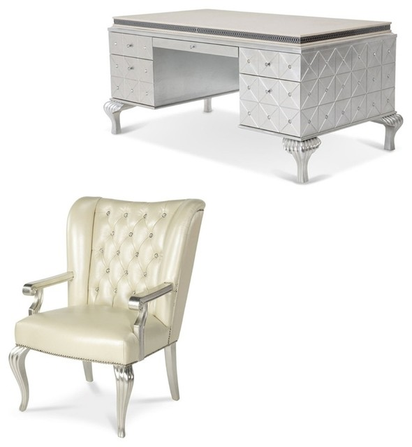 Gentil Hollywood Swank 5 Drawer Executive Desk Set, Silver And Pearl Caviar