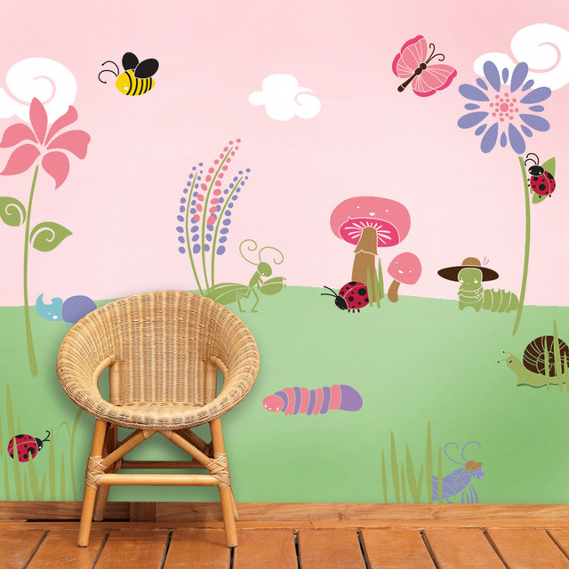 Bugs And Blossoms Wall Mural Stencil Kit for Painting Contemporary