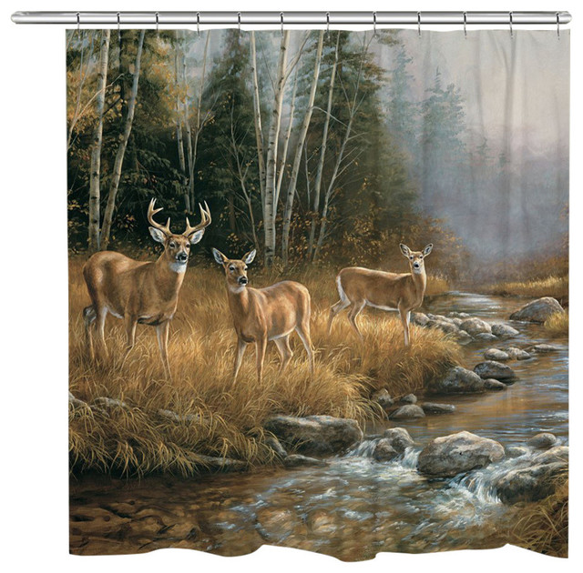 Wild Whitetail Deer Family Shower Curtain Contemporary Shower Curtains By Laural Home
