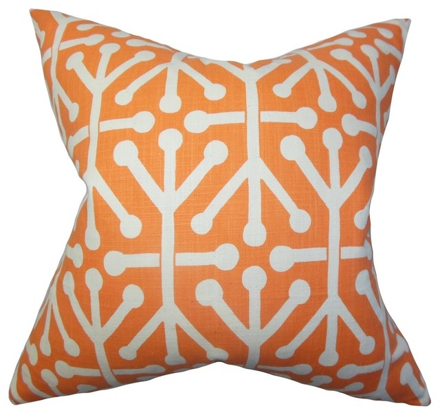 "Heath Geometric Pillow Orange, 22""x22""."