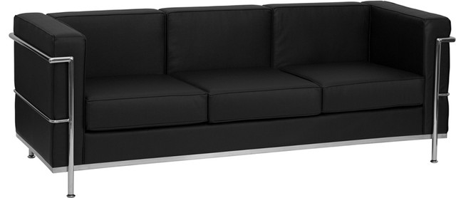 Hercules Regal Series Contemporary Black Leather Sofa With Encasing Frame