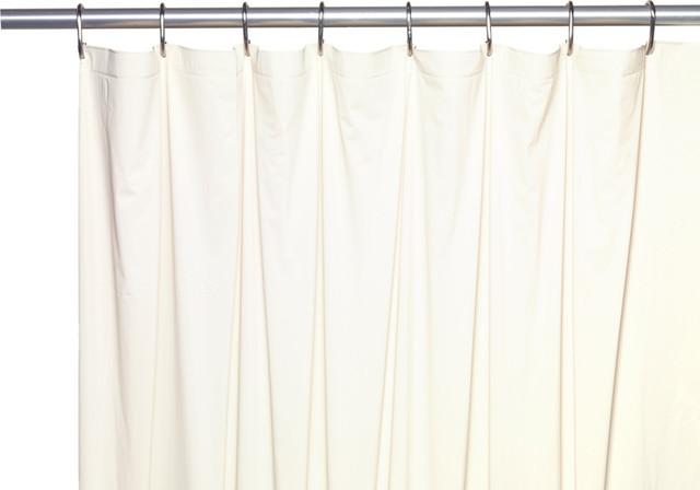 "Extra Long 5 Gauge Vinyl Shower Curtain Liner With Metal Grommets, Bone, 72"""
