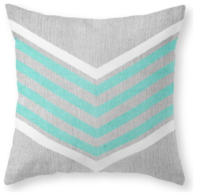 Modern Teal Decorative Throw Pillow : Teal and White Chevron On Silver Gray Wood Throw Pillow - Contemporary - Decorative Pillows - by ...