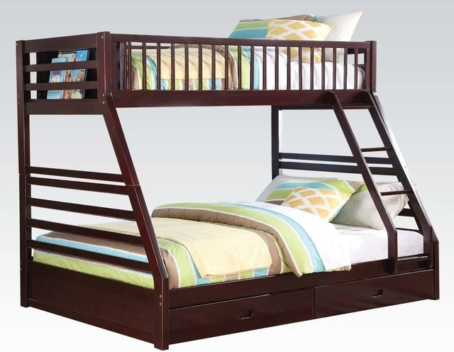 Incredible Acme Jason Twin Xl Queen Bunk Bed With Drawer Espresso Gmtry Best Dining Table And Chair Ideas Images Gmtryco