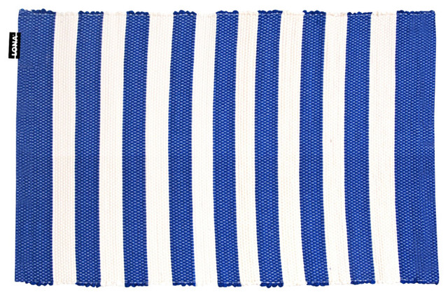 Striped Floor Rug, Blue and White, 50x70 cm