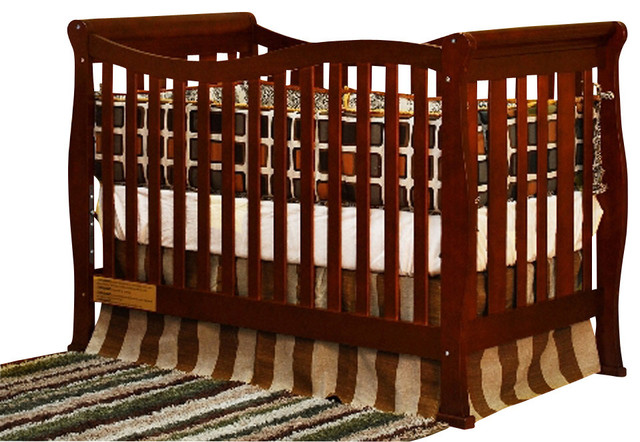 AFG Baby Nadia Convertible Crib With Toddler Rail In Cherry Traditional  Cribs