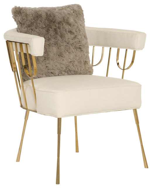 Ingrid Hollywood Regency Metallic Gold Creme Upholstered Chair