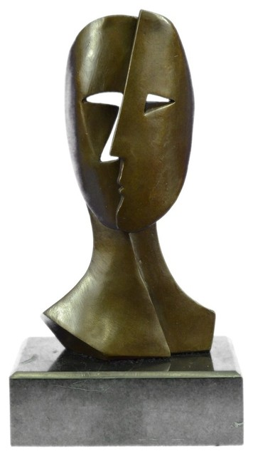 bronze sculpture depicting two faces mask by picasso art deco modern rh houzz com  image sculpture moderne