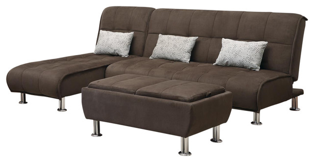 brown microfiber 3piece sectional sofa futon sleeper ottoman set