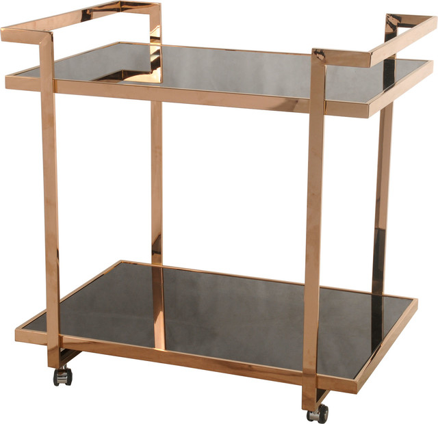 belmonte cart with glass rose gold - Rose Gold Bar Cart