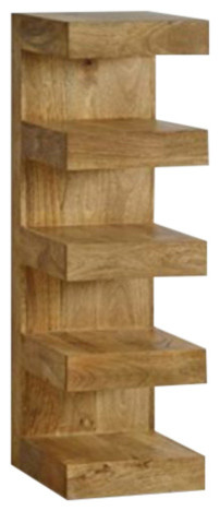 Mantis Light Natural Solid Oak Mango E Shaped Display Shelves Unit