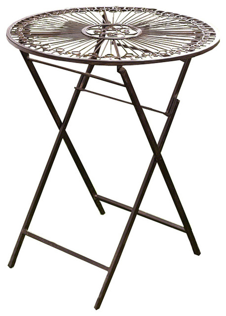 Provence Metal Folding Garden Bistro Table Warm Brown Mediterranean Outdoor Pub And Tables By Home Collections