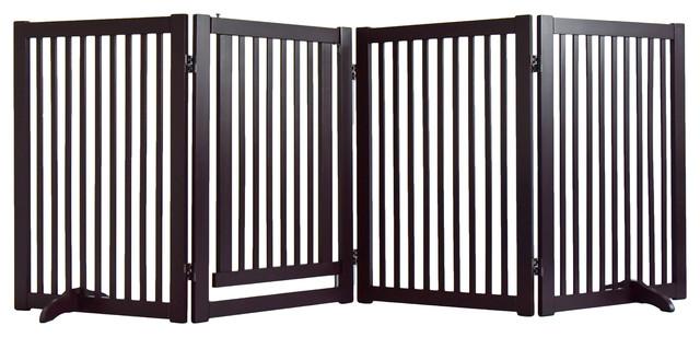 WELLAND Wood Freestanding Pet Gate With Small Door, 88 Inch, Espresso