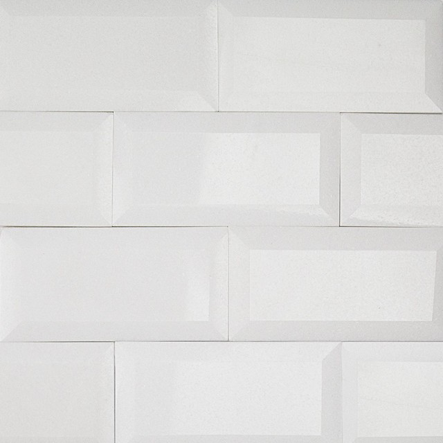 Beveled Edge Subway Backsplash Tile White Gloss 3x6
