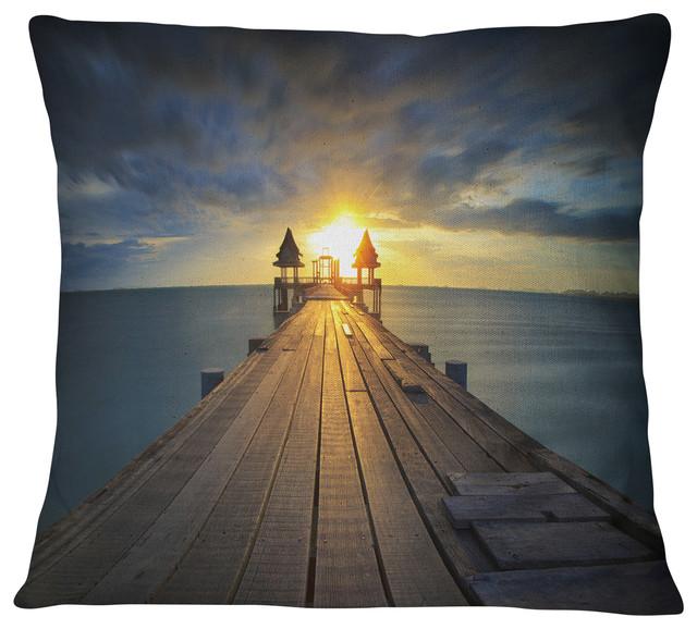 "Illuminated Wooden Bridge in Sunlight Pier Seascape Throw Pillow, 16""x16"""
