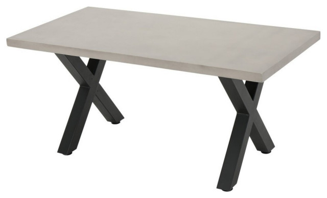 GDF Studio Galatian Outdoor White  Concrete Dining Table With Black Iron Legs
