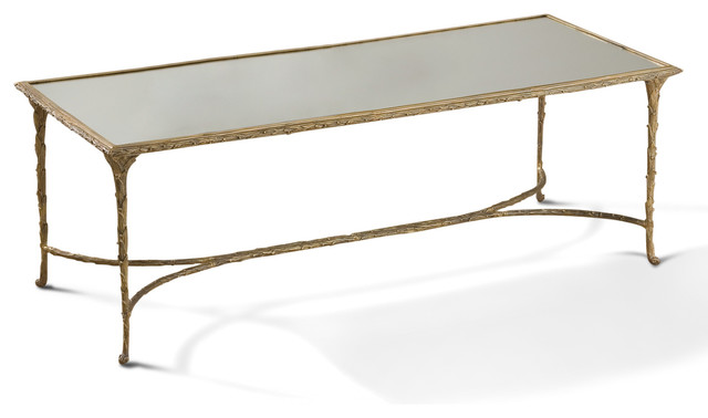 Delano Hollywood Regency Antique Gold Sculpted Leaf Mirrored Coffee Table