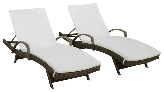 Olivia Outdoor Wicker Armed Chaise Lounge Chairs Off White Cushions Set Of 2