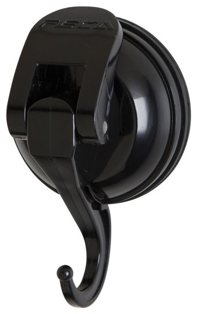 Powerful Push And Lock Color Pop Suction Hook, Holds 13 Lbs., Black.