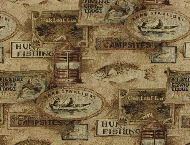 Fishing Lodge Fish Upholstery Fabric Rustic Outdoor Fabric By