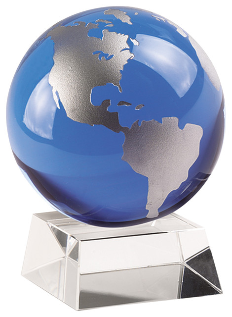 Blue And Silver Globe On Stand Contemporary World