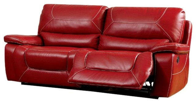 Leatherette Upholstered Contemporary Recliner Sofa With Contrast ...