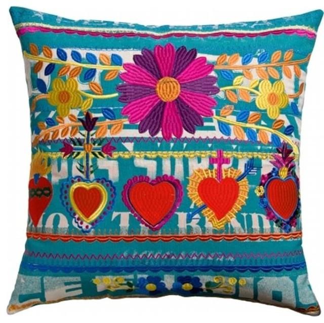 """Koko Company 91948 Mexico 22""""x22"""" Pillow, Hearts."""