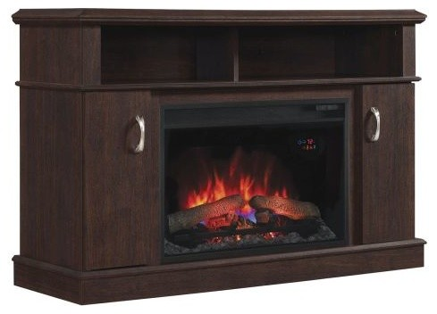 Dwell Tv Stand With 25 Curved Electric Fireplace Midnight Cherry Traditional Indoor