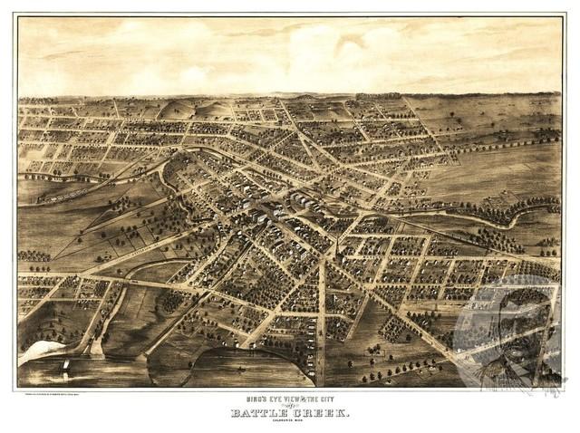 Bird/'s Eye View 1870 Paris Kentucky Vintage Style City Map 18x24