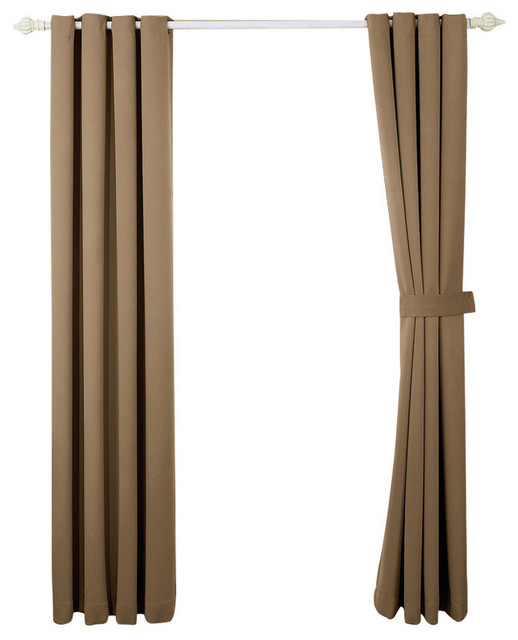 Sea Black Out Curtains 4 Piece Sets, Black And Brown Curtains