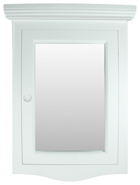 Wall Mount Corner Recessed White Medicine Cabinet With Mirror.